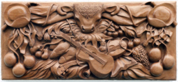 Troubadour Figure – Mahogany Relief